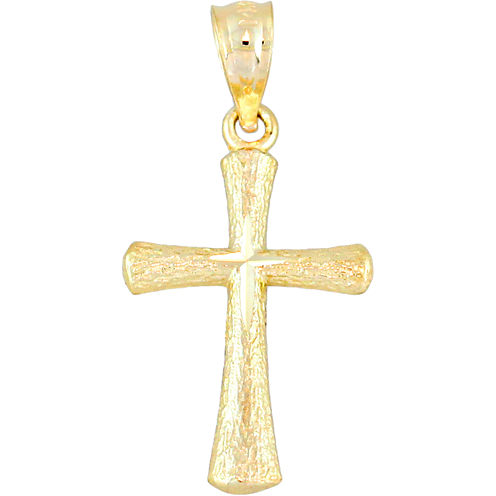 14K Yellow Gold Diamond-Cut Mini Cross Charm