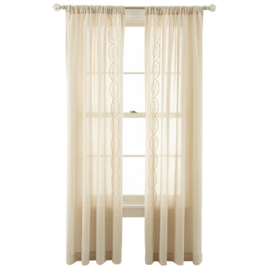 jcpenney.com | MarthaWindow™ Artistry Embroidered Rod-Pocket Sheer Panel