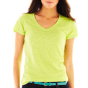 jcp™ Slub Cotton V-Neck Tee