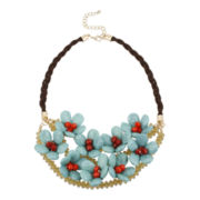 Mixit® Two-Tone Aqua 3D Flower Statement Necklace