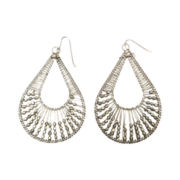 Mixit® Silver-Tone Wire & Bead Teardrop Earrings