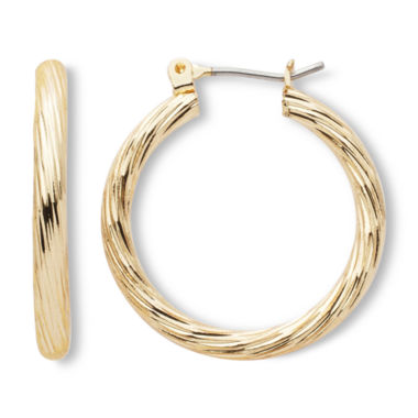 jcpenney.com | Sensitive Ears Gold-Tone, Textured Hoop Earrings