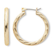 Sensitive Ears Gold-Tone, Textured Hoop Earrings