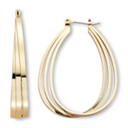 Sensitive Ears Gold-Tone, Teardrop Hoop Earrings