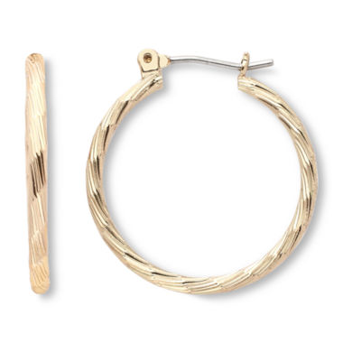 jcpenney.com | Mixit Gold-Tone, Textured Hoop Earrings