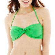 Arizona Solid Twist Bandeau Swim Top  - Juniors
