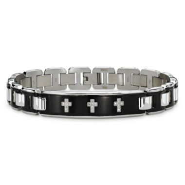 jcpenney.com | Mens 1/10 CT. T.W. Diamond Stainless Steel Bracelet