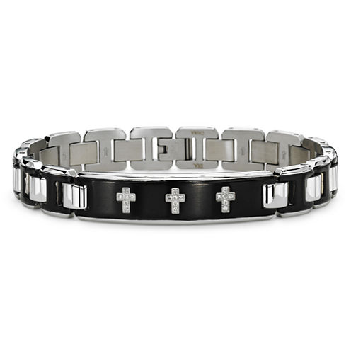 Mens 1/10 CT. T.W. Diamond Stainless Steel Bracelet