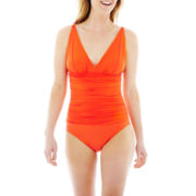 Liz Claiborne Shirred 1-Piece Swimsuit