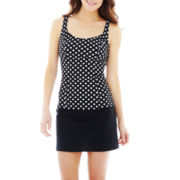 St. John's Bay® Polka Dot Tankini Swim Top or Skirted Bottoms