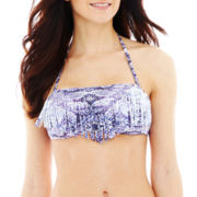 Ninety Six Degrees Print Fringe Bandeau Swim Top