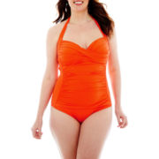 Liz Claiborne Shirred Halter 1-Piece Swimsuit - Plus