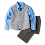 Glen Plaid Vest, Shirt, Pants and Tie Set - Boys 12m-24m