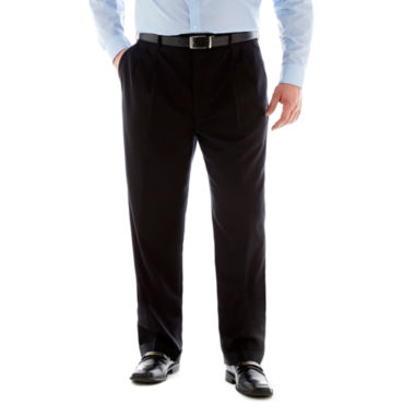 jcpenney.com | Stafford®  Executive Super 100 Wool Pleated Suit Pants – Big & Tall- Black