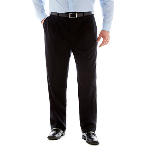 Stafford®  Executive Super 100 Wool Pleated Suit Pants – Big & Tall