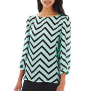 Speechless® Chevron Print Boatneck Top