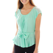 Heart & Soul® Lace-Inset Bow Top