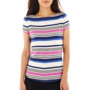 Liz Claiborne Short-Sleeve Shirttail Tee - Petite
