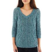 Liz Claiborne 3/4-Sleeve V-Neck Sweater - Petite