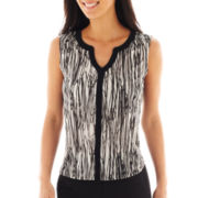 Worthington® Sleeveless Mesh V-Neck Top