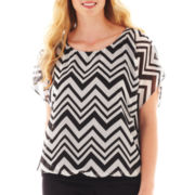 Alyx® Short-Sleeve Banded Print Top - Plus