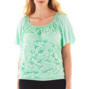 Alyx® Short-Sleeve Flutter Lace Tee - Plus