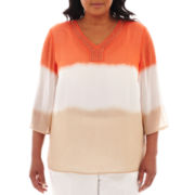 Alfred Dunner® Tuscan Sunset Tie-Dyed Ombré Tunic Top - Plus