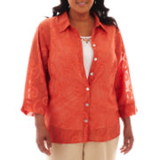 Alfred Dunner® Tuscan Sunset Scroll Burnout Layered Shirt - Plus