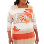 Alfred Dunner® Tuscan Sunset Striped Floral Top - Plus
