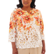Alfred Dunner® Tuscan Sunset Animal Floral Yoke Top - Plus