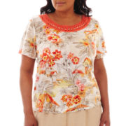 Alfred Dunner® Tuscan Sunset Crochet-Neck Scenic Print Top - Plus