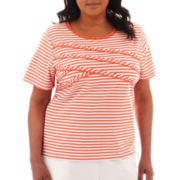 Alfred Dunner® Tuscan Sunset Spliced Striped Knit Top - Plus