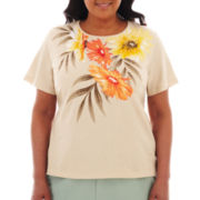 Alfred Dunner® Tuscan Sunset Tropical Yoke Knit Top - Plus
