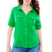 Liz Claiborne 3/4-Sleeve Henley Top - Plus