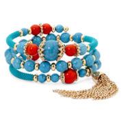 Mixit™ Aqua Gold-Tone Tassel Coil Bracelet