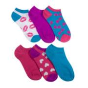 Mixit™ 6-pk. Lipstick Print No-Show Socks