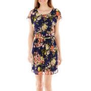 City Triangles® Flutter-Sleeve Bar-Back Blouson Dress