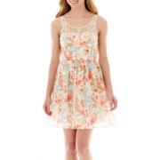 City Triangles® Sleeveless Crochet-Neck Floral Print Dress