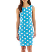 Alyx® Sleeveless Polka Dot Print Sheath Dress