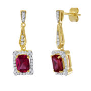 Lab-Created Ruby and White Sapphire Linear Drop Earrings