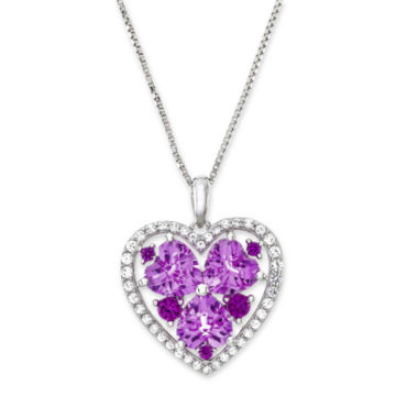 jcpenney.com | Lab-Created Ruby and Pink and White Sapphire Heart Pendant Necklace