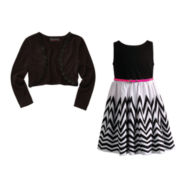 Disorderly Kids® Cardigan or Youngland® Chevron Dress – Preschool Girls