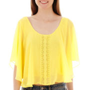 Love By Design Dolman-Sleeve Crochet-Front Top