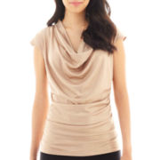 Worthington® Rouched Cowlneck Top - Petite