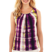 Worthington® Sleeveless Metal-Trim Pleated Top - Petite