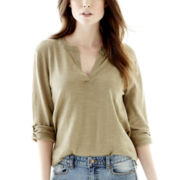 Joe Fresh™ 3/4-Sleeve Roll-Tab Henley Slub Sweater