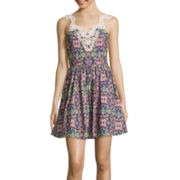 City Triangles® Sleeveless Floral Poplin Dress- Juniors