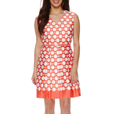 jcpenney.com | Studio 1® Sleeveless Dot Print Fit-and-Flare Dress - Petite