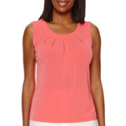 Black Label by Evan-Picone Sleeveless Pleated Top