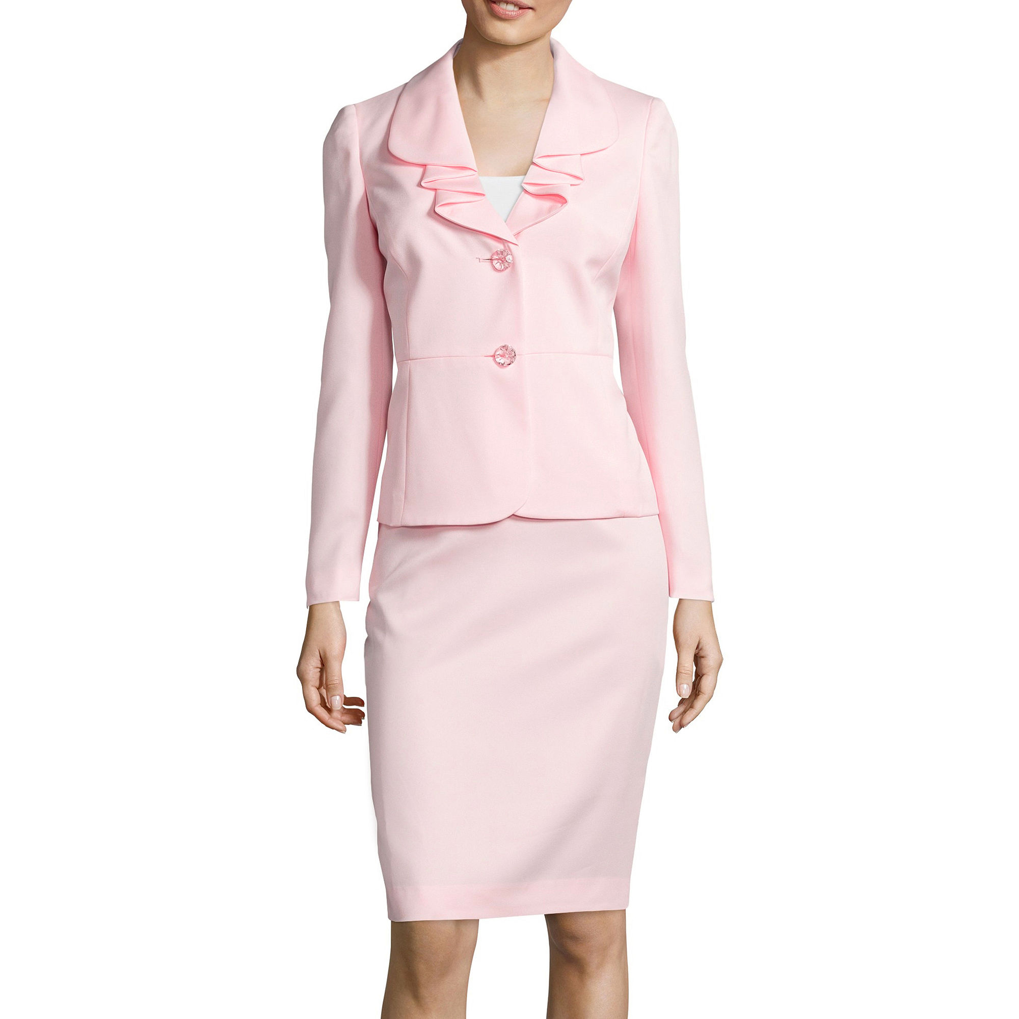 Le Suit Long-Sleeve Ruffle Jacket and Skirt Suit Set plus size,  plus size fashion plus size appare